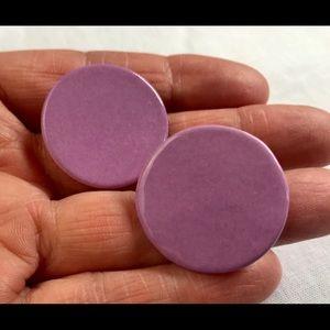 Round Purple Ceramic Porcelain Earrings, Pierced